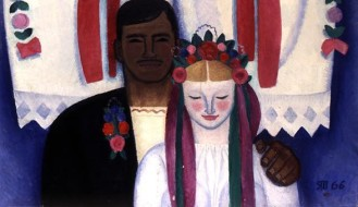 DSA149122 Newly-Weds, 1966 (oil on canvas) by Yablonska, Tetyana Nilovna (1917-2005); 100x107 cm; ?© Odessa Fine Arts Museum, Ukraine; Russian,  in copyrightPLEASE NOTE: This image is protected by the artist's copyright which needs to be cleared by you. If you require assistance in clearing permission we will be pleased to help you.