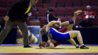 Ukraine's Merleni and Venezuela's Castillo compete in women's freestyle wrestling during International Vantaa Cup 2012 in Vantaa